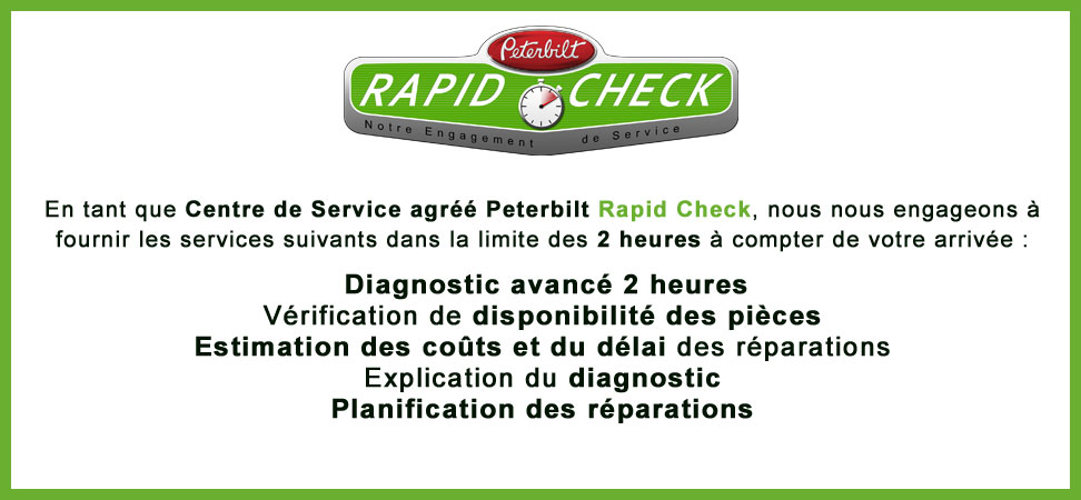 Centre de service agréé Peterbilt Rapid Check