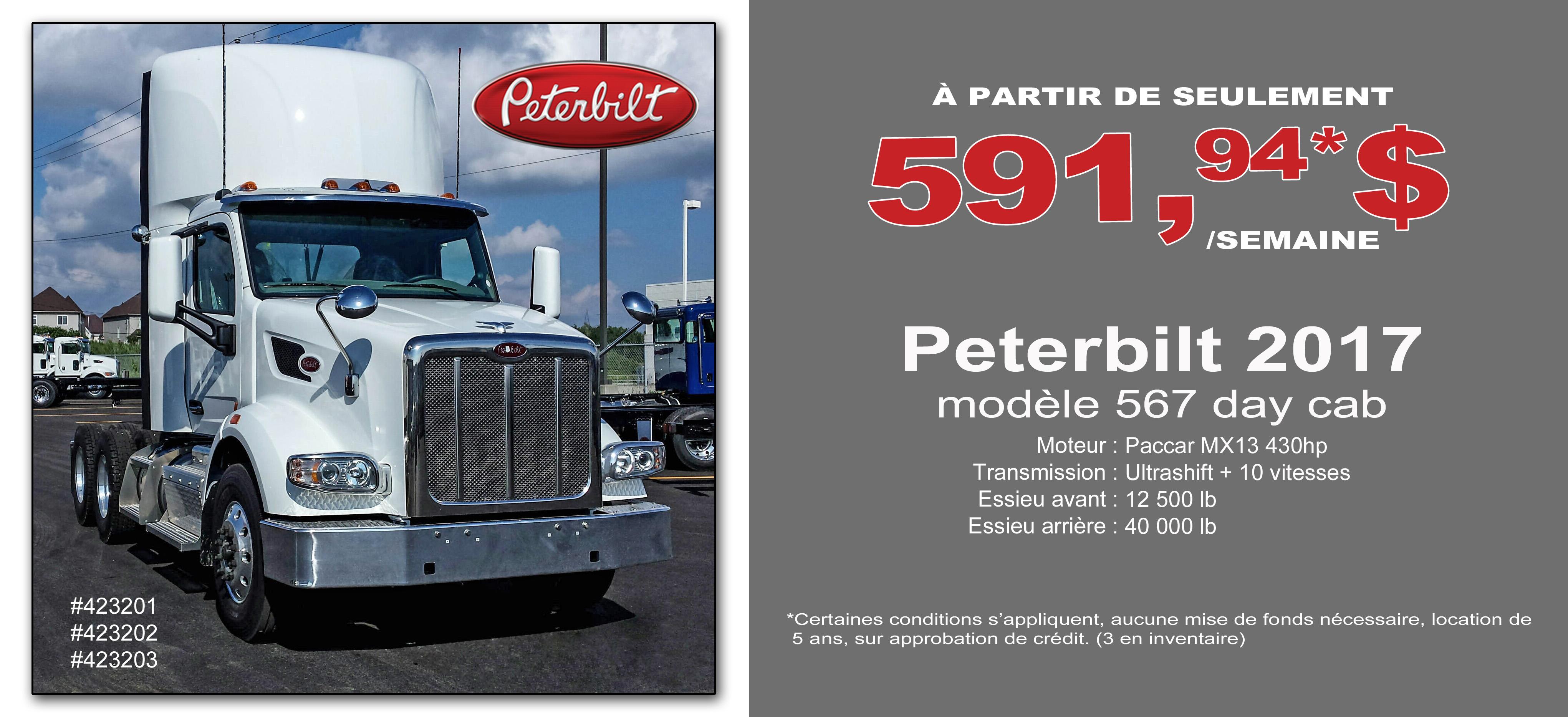 Location Camions Peterbilt Paiement-semaine