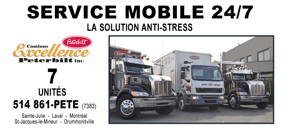 7 unités mobile disponiche chez Camions Excellence Peterbilt