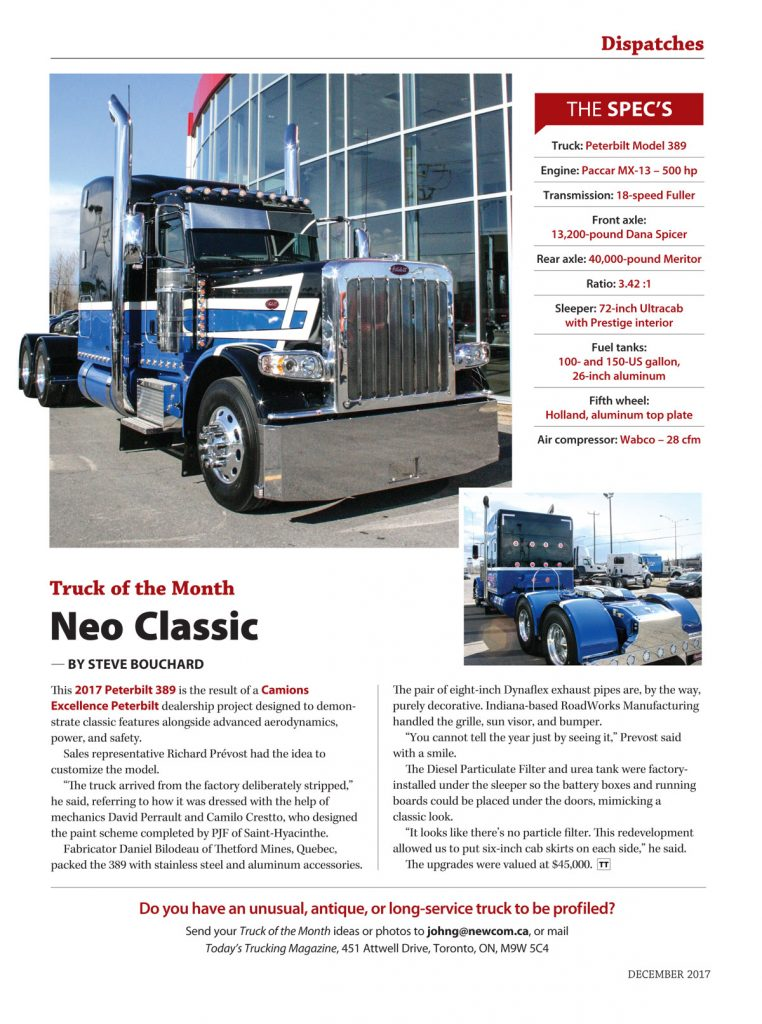 Publication dans Today's Trucking