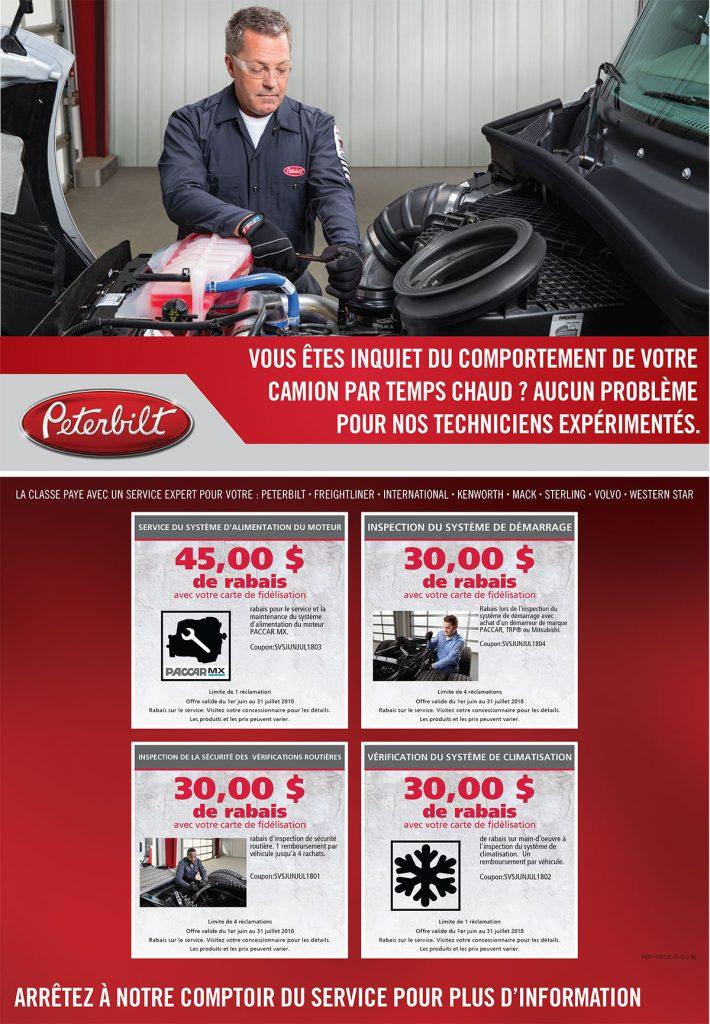 Offres service camions Peterbilt mai 2018