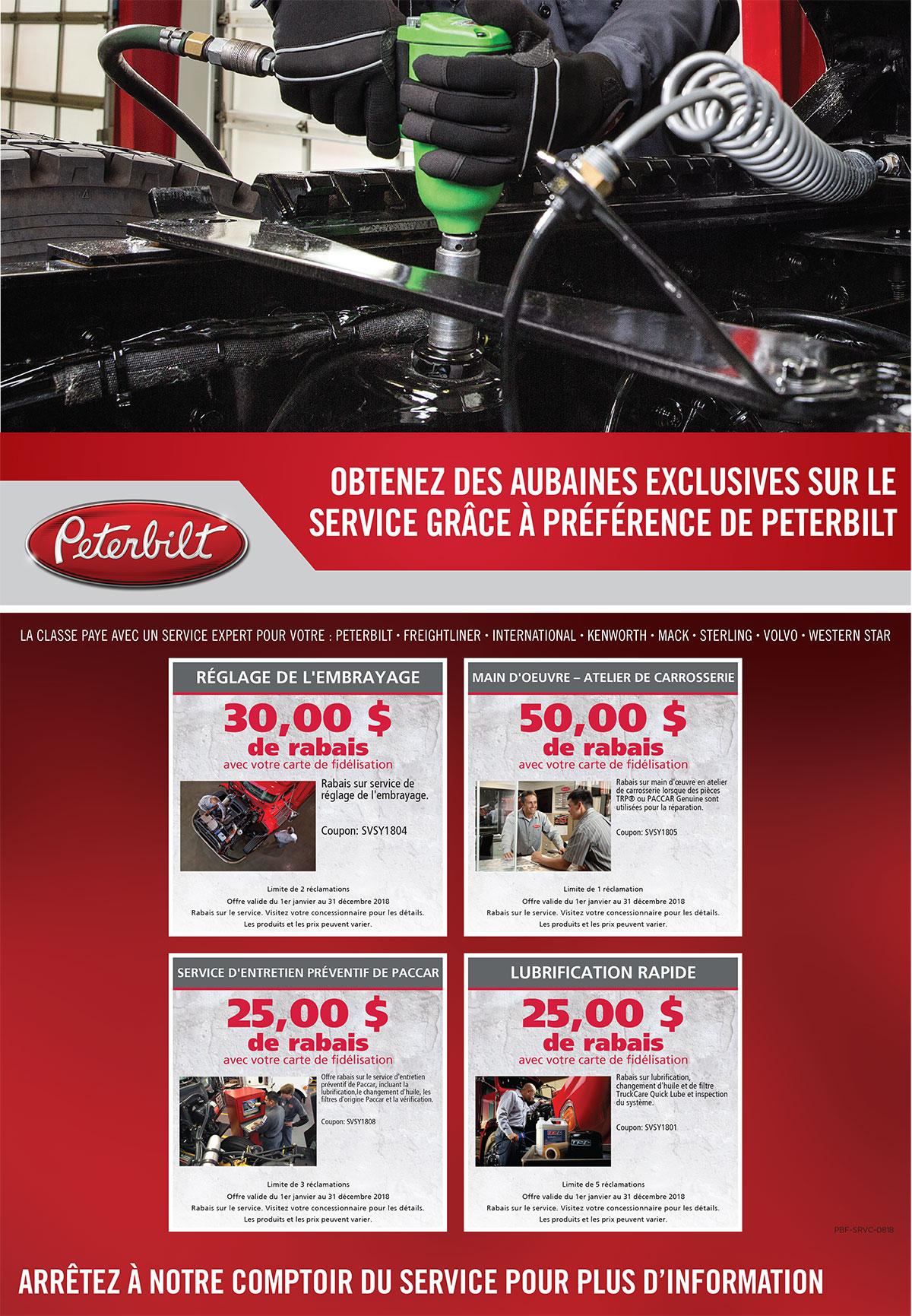 Offres service camions Peterbilt août 2018