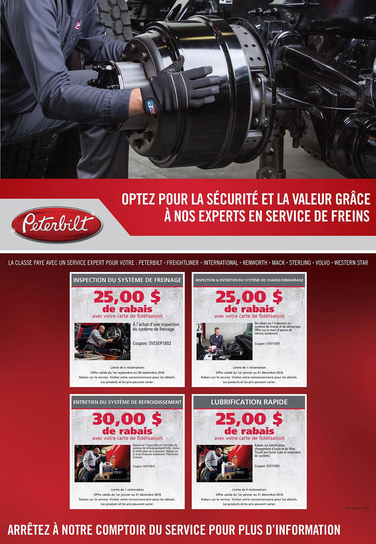 Offres service camions Peterbilt septembre 2018