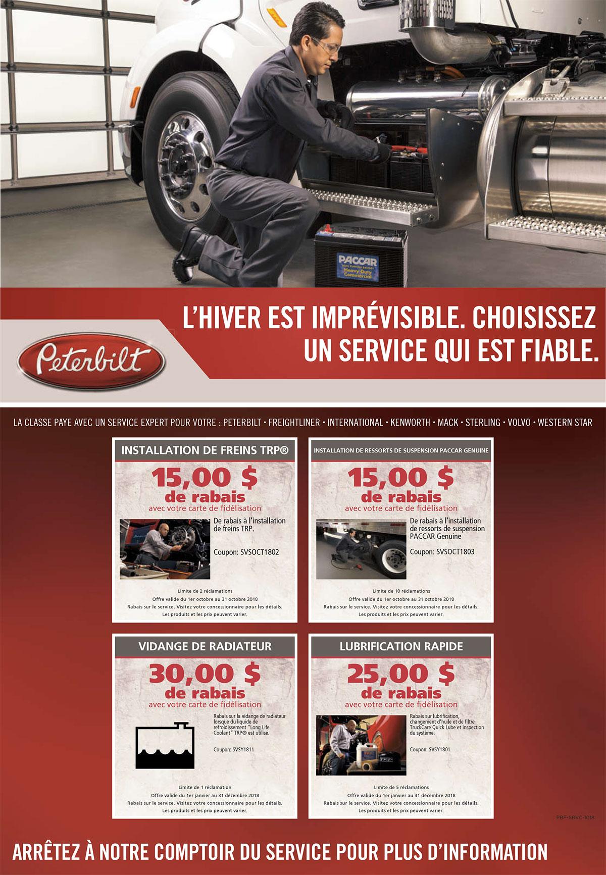 offres service camions peterbilt octobre 2018