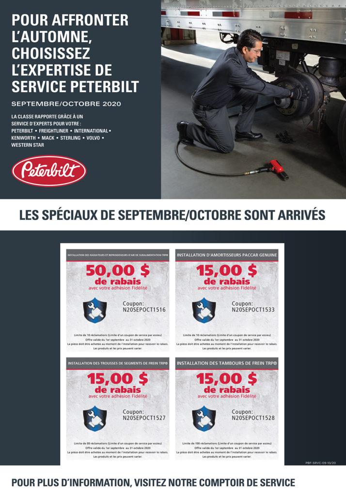 offres service camions peterbilt septembre octobre 2020