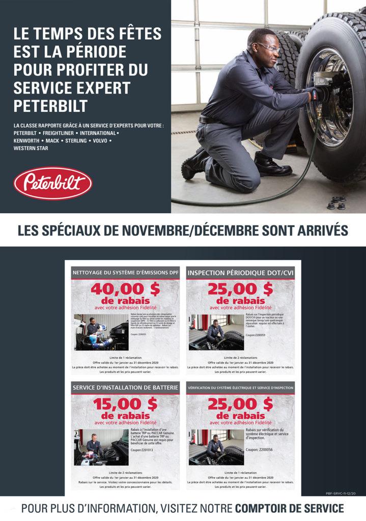 offres service camions peterbilt novembre et décembre 2020