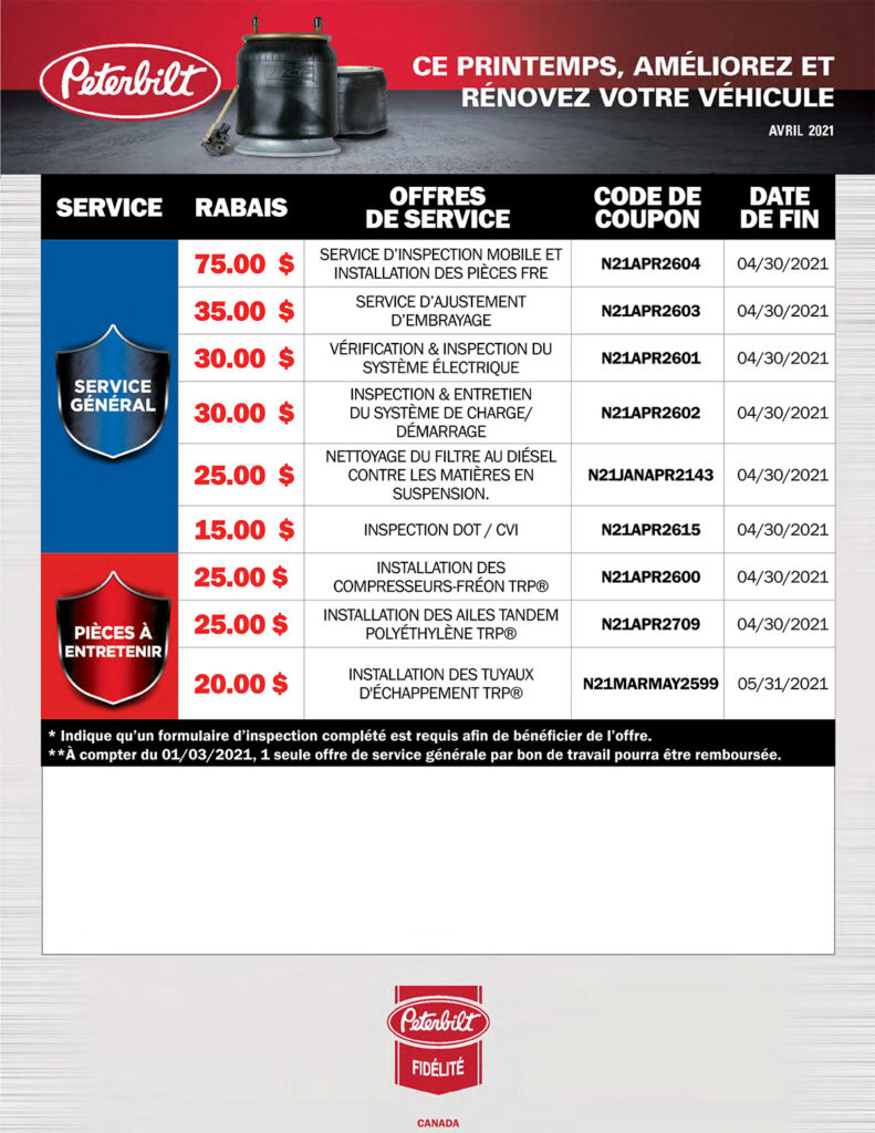 offres de service camions Peterbilt avril 2021